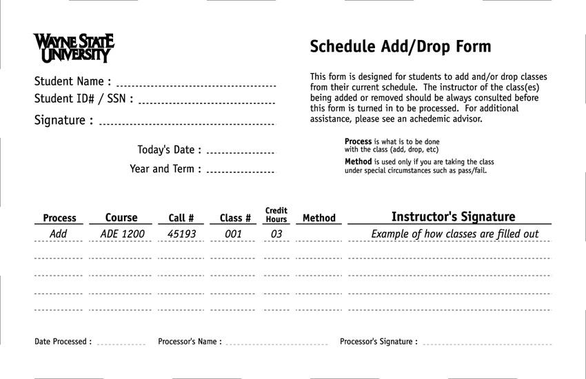 Schedule Add / Drop Form Proposal